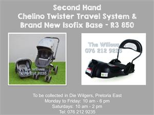 Second Hand Chelino Twister Travel System & Brand New Isofix Base