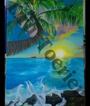 Ocean palm tree sunset painting
