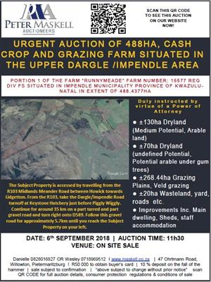 URGENT AUCTION OF 488HA, CASH CROP AND GRAZING FARM SITUATED IN THE UPPER DARGLE /IMPENDLE AREA