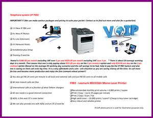 A VoIP package with a printer