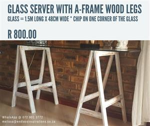 GLASS SERVER WITH A FRAME WOOD LEGS