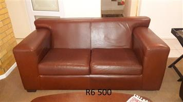 "Leather Coricraft Tan ""Kariba"" 2-Seater Couch In Excellent Condition!!"