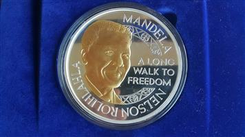 1 Kg Silver Mandela coin in wooden display box