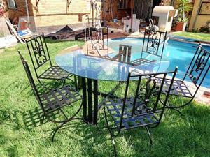 Wrought iron Patio round glass table