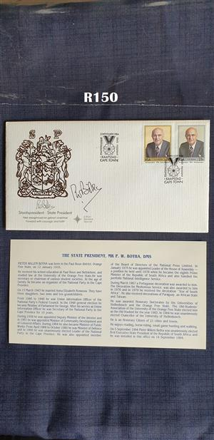 State President PW Botha First day Cover