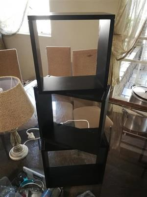 Set of 3 dark wooden shelves