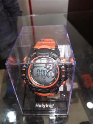 Black and orange watch