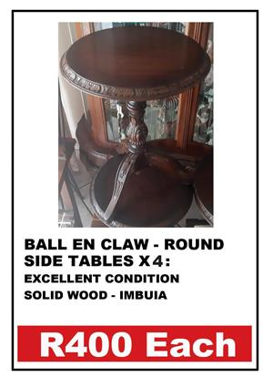BALL & CLAW SIDE TABLES X 4