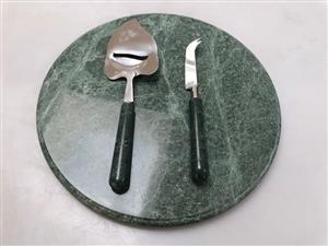 Stylish green veined granite cheeseboard / cutting board with matching slicer and fork