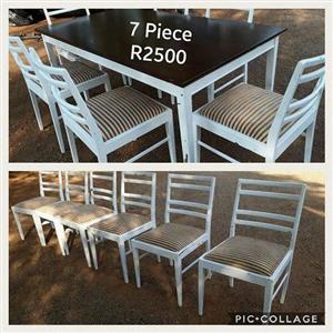 7 PIECE BLACK AND WHITE DINING SET