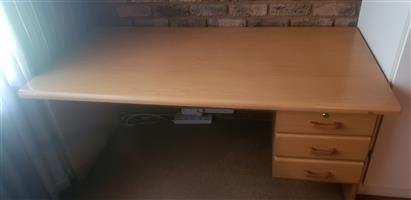 Oak coloured  3 drawer study desk and ergonomic chair