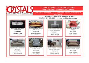 CRAZY SPECIALS--MASSIVE DISCOUNTS--SAVE BIG @ CRYSTALS FURNITURE