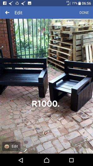 2 Dark wooden pallet patio benches