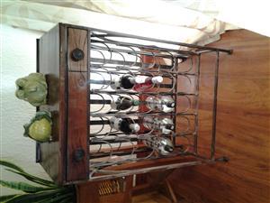 Wine rack, Rhodesian hardwood and iron