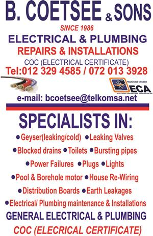 B.COETSEE & SONS (PLUMBING & ELECTRICAL)