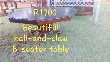 Ball and claw 8 seater table for sale
