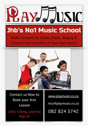 Guitar, Piano, Drums or Singing Lessons in the comfort of your own home! JHB'S NO1 MUSIC SCHOOL!
