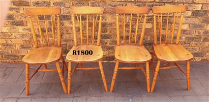 4 x Solid Oak Windsor Dining Chairs