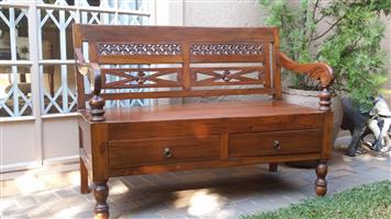 Antiqueee Hallway Bench with 2 Drawers
