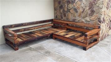 L - Shape sleeper wood couch