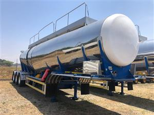 Used 2018 Henred Fruehauf 30 000LT Tri Axle Food Grade Stainless Steel Tanker for sale