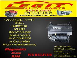 TOYOTA AURIS 1.6 VVTI PETROL  1ZRU ENGINE FOR SALE