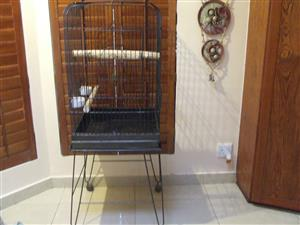 BIRD CAGE ON STAND WITH WHEELS