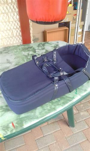 Baby carry cot - blue - excellent condition
