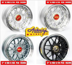 BBS style replica mags rims wheels alloys. assorted designs. 15 inch