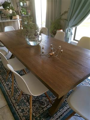 Dining Table 240cm + 8 White Chairs
