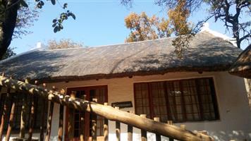 Leeupoort Pragtige 2 slpk Grasdak huis te huur vir naweke naby Thabazimbi, Limpopo