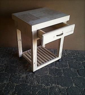 Kitchen Island Farmhouse series 690 with drawer and 1 shelf Raw
