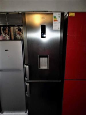 Silver fridge with dispenser