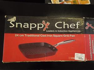 Snappy Chef 24cm Square Cast Iron Grill Pan