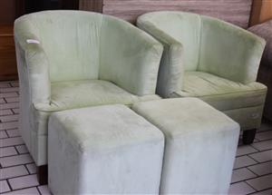 2 wingback chair with 2 ottoman -green S032288C #Rosettenvillepawnshop