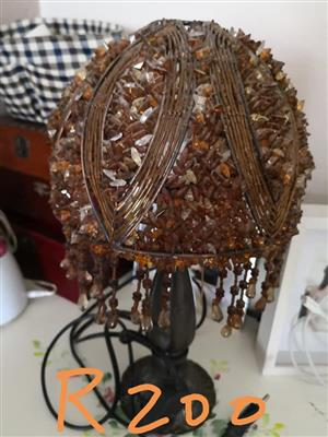 Rusty crystal shaded bedside lamp