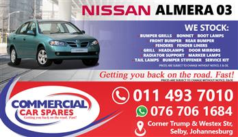 Nissan Almera 2003 Parts and spares for sale