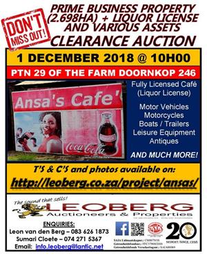 Prime Business Property + Liquor License and Various Asses on Auction - 1 December 2018 at 10h00