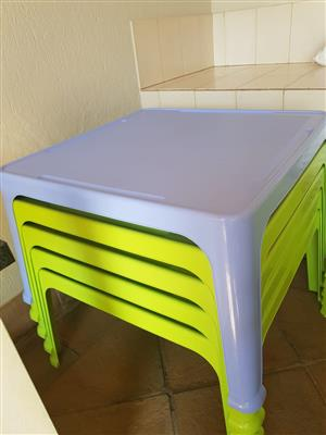 Plastic tables and chairs for sale