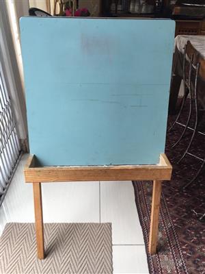 Retro dual sided kiddies black board with crayon trays