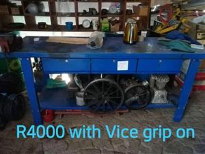 Blue work table with vice for sale