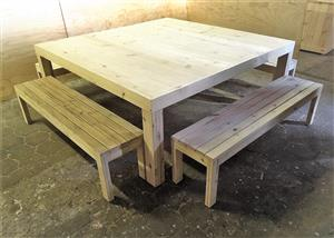 Patio table Chunky Farmhouse series 2000 square Combo - Raw