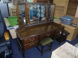Wooden Dressing Table + Chair