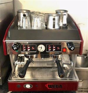 Wega 2 group commercial Barista coffee machine red