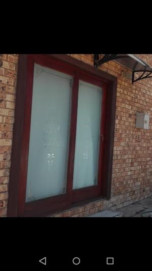 Wooden Sliding Door With Frosted Frame For Sale