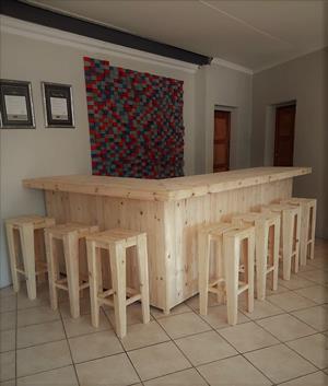 Bar Counter Farmhouse series 3000 L shape and stool Combo - Raw