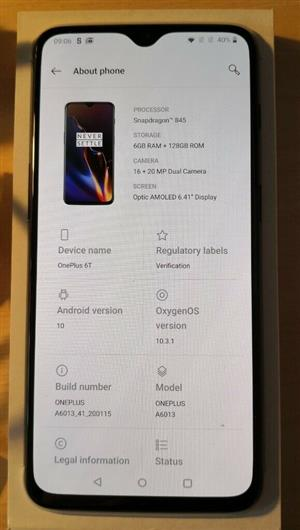One plus 6T 64gb 6gb ram with accesories