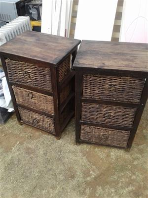 bedside tables with wicker drawers 300 for both