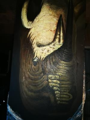 2 x rhino oil painting on canvas in excellent condition