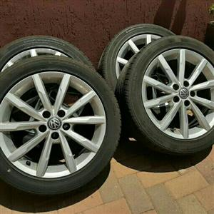 VW POLO OEM 16IN H/LINE MAGS & TYRES LIKE NEW 5X100